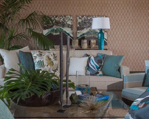 Tropical themed living room design ideas renovations photos for Tropical living room decorating ideas