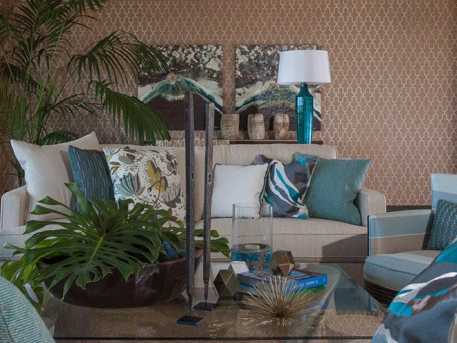tropical living room by Henderson Design Group