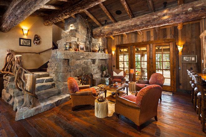 Rustic Living Room by Teton Heritage Builders
