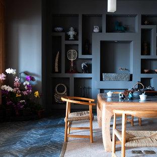 Idee per un soggiorno di medie dimensioni e chiuso con sala formale, pareti grigie, pavimento in ardesia, nessun camino e pavimento grigio