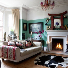 Eclectic Living Room frames in corner, eclectic, decor, colors