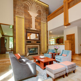 Example of a large arts and crafts open concept and formal porcelain floor and beige floor living room design in Other with beige walls, a two-sided fireplace and a tile fireplace
