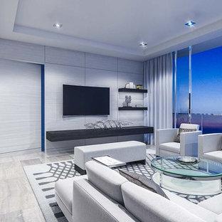 Ispirazione per un soggiorno contemporaneo di medie dimensioni e aperto con sala formale, pareti grigie, pavimento in marmo, nessun camino e TV a parete