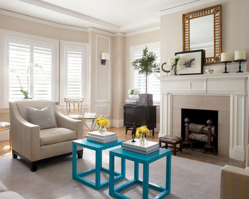 Example Of A Classic Living Room Design In San Francisco With Beige Walls Part 41