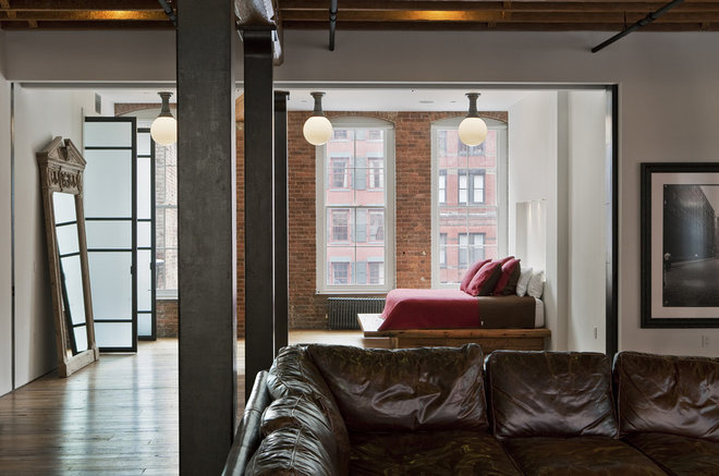 Industrial Living Room by Jane Kim Design