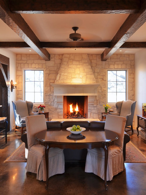 Country Open Concept Concrete Floor Living Room Photo In Austin With A  Stone Fireplace