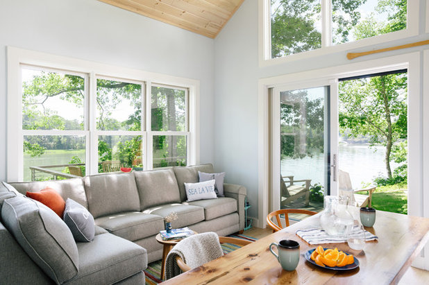 Farmhouse Living Room by Marvin Design Gallery by Eldredge Lumber