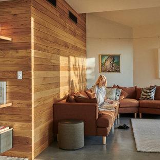 Ejemplo de salón abierto y madera, actual, pequeño, madera, con suelo de cemento, suelo gris, paredes beige y madera