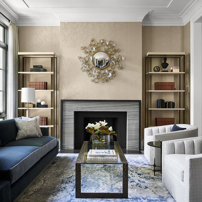Living room - contemporary formal and open concept living room idea in Chicago with beige walls, a standard fireplace, a stone fireplace and no tv