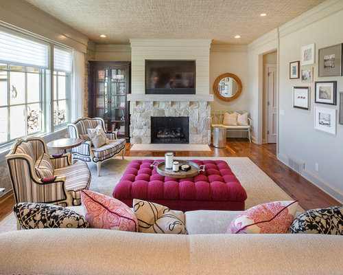 Example Of An Eclectic Formal And Enclosed Dark Wood Floor And Brown Floor Living  Room Design Part 53