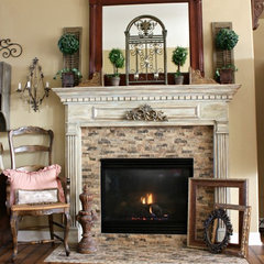 traditional living room French Country Fireplace