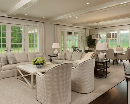 Large Elegant Open Concept And Formal Dark Wood Floor Living Room Photo In DC Metro With