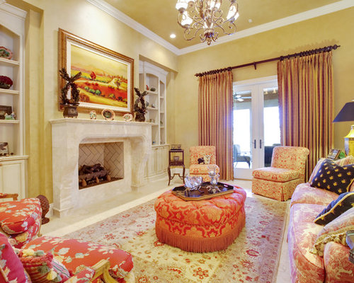 Tuscan Living Room Photo In Orlando With Yellow Walls And A Standard Fireplace