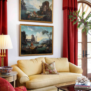 Example of a large tuscan living room design in San Francisco with white walls