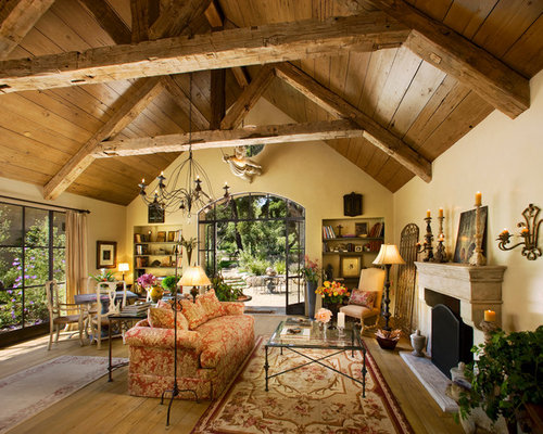 Tuscan Living Room Photo In Santa Barbara With Beige Walls