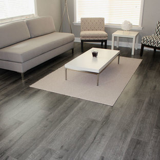 Mid-sized trendy open concept laminate floor and gray floor living room photo in Los Angeles with gray walls