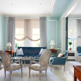 Inspiration for a mid-sized timeless formal and enclosed limestone floor living room remodel in New York with blue walls, no fireplace and no tv