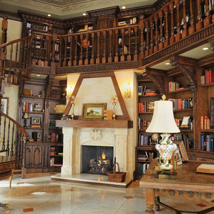 French Inspired Fireplace in an Elegant Library
