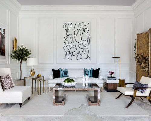 transitional formal white floor living room photo in dc metro with white walls - Transitional Design Ideas