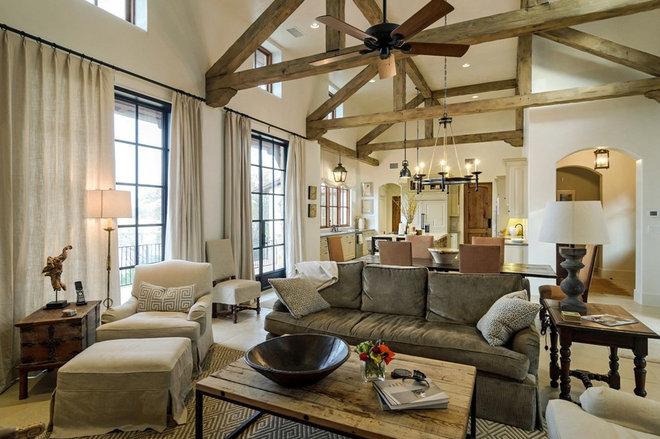 Mediterranean Living Room by SILVERTON CUSTOM HOMES