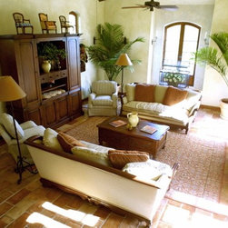 Traditional terra cotta tile floor living room design ideas pictures remodel decor for Terracotta living room ideas