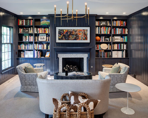 Example Of A Transitional Carpeted Living Room Library Design In Chicago With Blue Walls