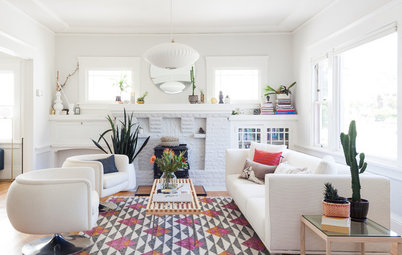 White-and-Gray Paint Scheme Brightens a New Living Room Layout