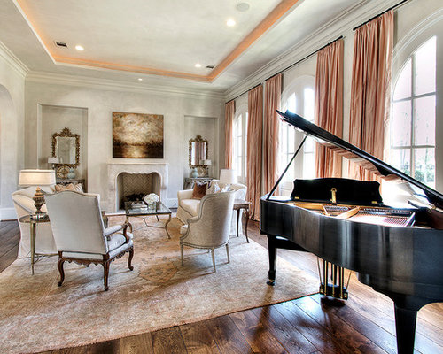 Traditional Dark Wood Floor Living Room Idea In Houston With A Music Area Beige Walls