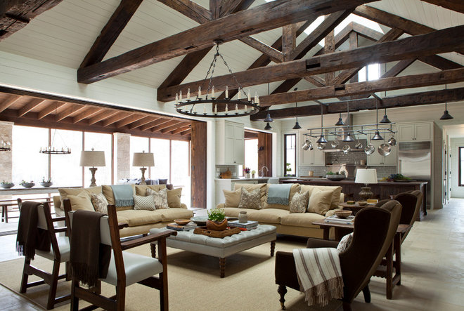 Farmhouse Living Room by Dalgleish Construction Company