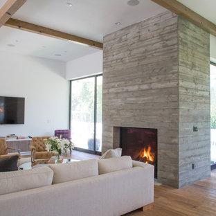ロサンゼルスの大きいトランジショナルスタイルのおしゃれなLDK (フォーマル、白い壁、淡色無垢フローリング、標準型暖炉、コンクリートの暖炉まわり、壁掛け型テレビ、ベージュの床) の写真