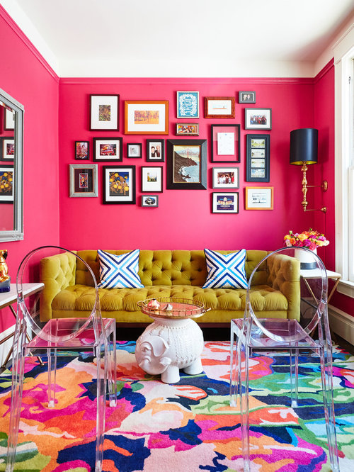 Living Room Design Ideas, Renovations & Photos with Pink Walls