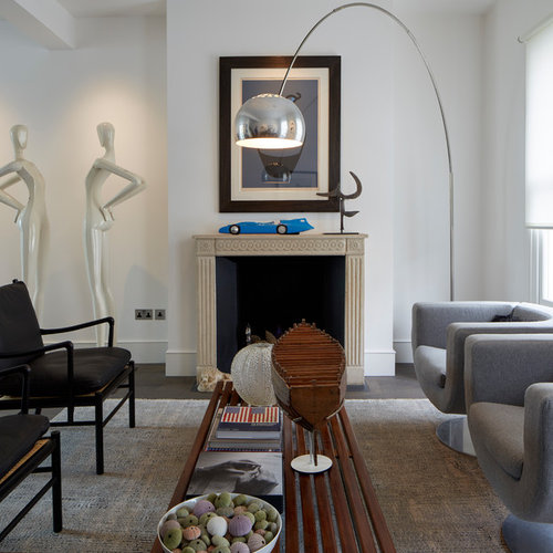 Design Ideas For A Classic Living Room In London With White Walls, Dark  Hardwood Flooring