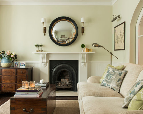 Small Elegant Dark Wood Floor Living Room Photo In London With Green Walls  And A Standard