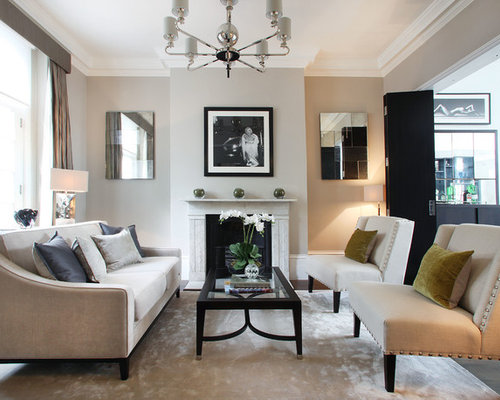 Inspiration For A Mid Sized Contemporary Formal Living Room Remodel In London With Gray Walls