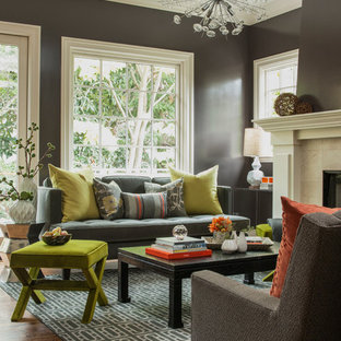 Design ideas for a transitional living room in San Francisco with brown walls.