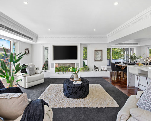 This Is An Example Of A Mid Sized Transitional Open Concept Living Room In  Melbourne