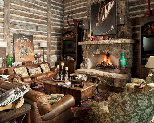 Small Log Cabins Living Room Design Ideas Remodels Photos Houzz
