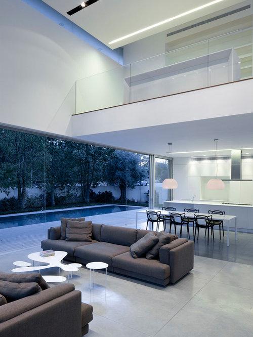 Contemporary living room design ideas renovations for Concrete floor living room ideas