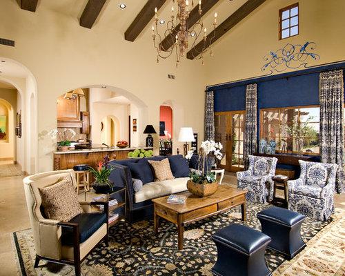 mediterrane wohnzimmer mit blauer wandfarbe ideen design bilder houzz. Black Bedroom Furniture Sets. Home Design Ideas