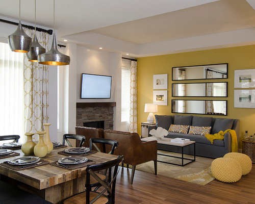 1 292 Transitional Living Room With Yellow Walls Design Ideas Amp Remodel Pictures Houzz