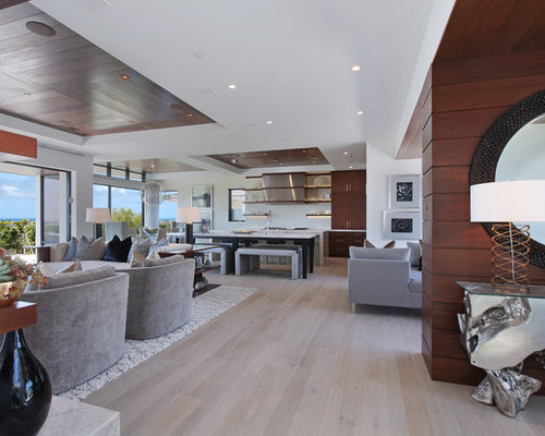 Example Of A Large Trendy Open Concept Light Wood Floor And Brown Living Room Design