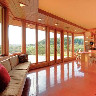 Diseño de salón abierto, retro, pequeño, con paredes beige, suelo de cemento, chimenea de esquina, marco de chimenea de piedra y suelo rojo