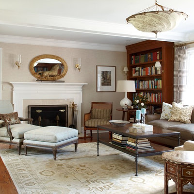 Living room - traditional living room idea in New York with beige walls