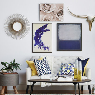 Gallery Wall, Blue & Gold