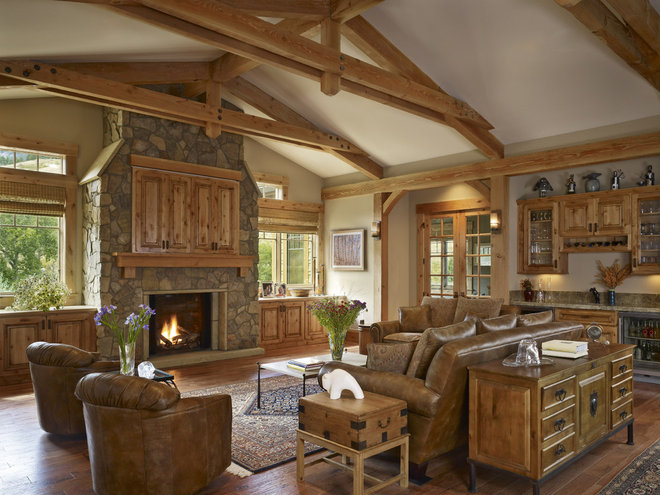 Rustic Living Room by MQ Architecture & Design, LLC