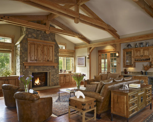 Example Of A Huge Mountain Style Living Room Design In Denver With A  Standard Fireplace, Part 81