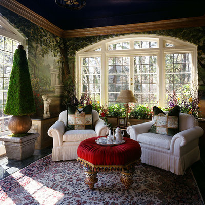 Example of a large eclectic enclosed and formal living room design in Bridgeport with green walls and no tv