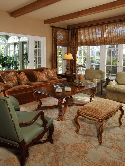 Example Of A Large Classic Living Room Design In Orange County With Walls