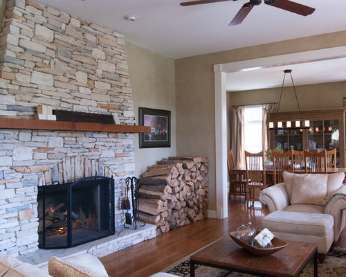 stone veneer family room fireplace photos - Stone Fireplace Design Ideas