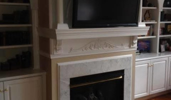 Gas fireplace makeover with tiny stone facing